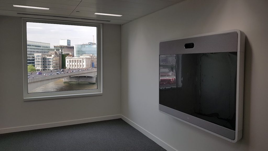 commercial av system in office, window with london bridge view